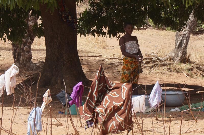 Sécher du linge dans la savanne, , village de Nagou et Boré, Togo