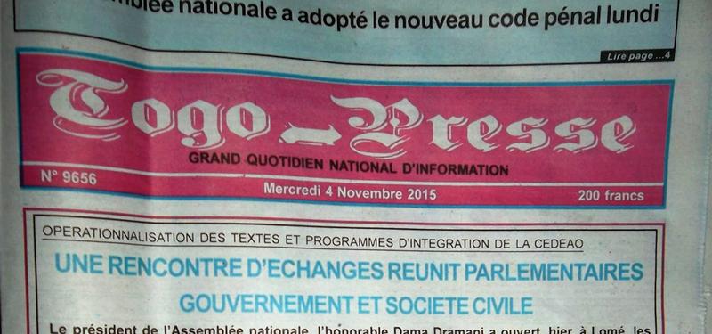 4 novembre 2015 Togo Presse