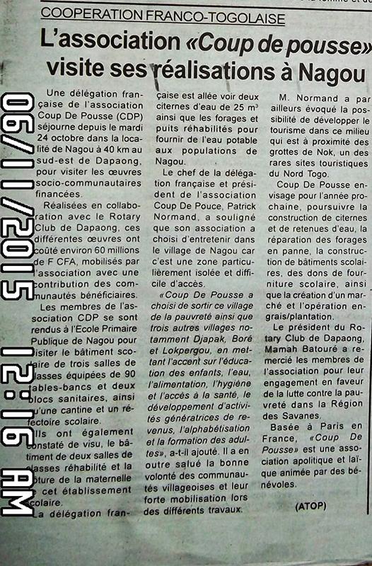 Togo-Presse, coup dep pousse visite ses réalistions