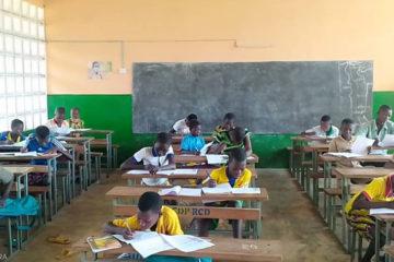 Lokpergou, les enfants du primaire au travail